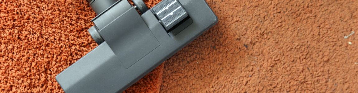 Cleaning carpets with a vacuum cleaner - clean vs. dirty carpet.